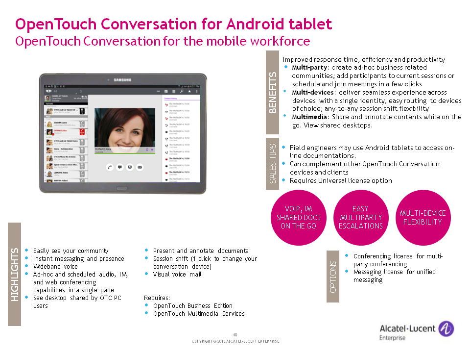 Alcatel-Lucent OT Conversation for Android tablet