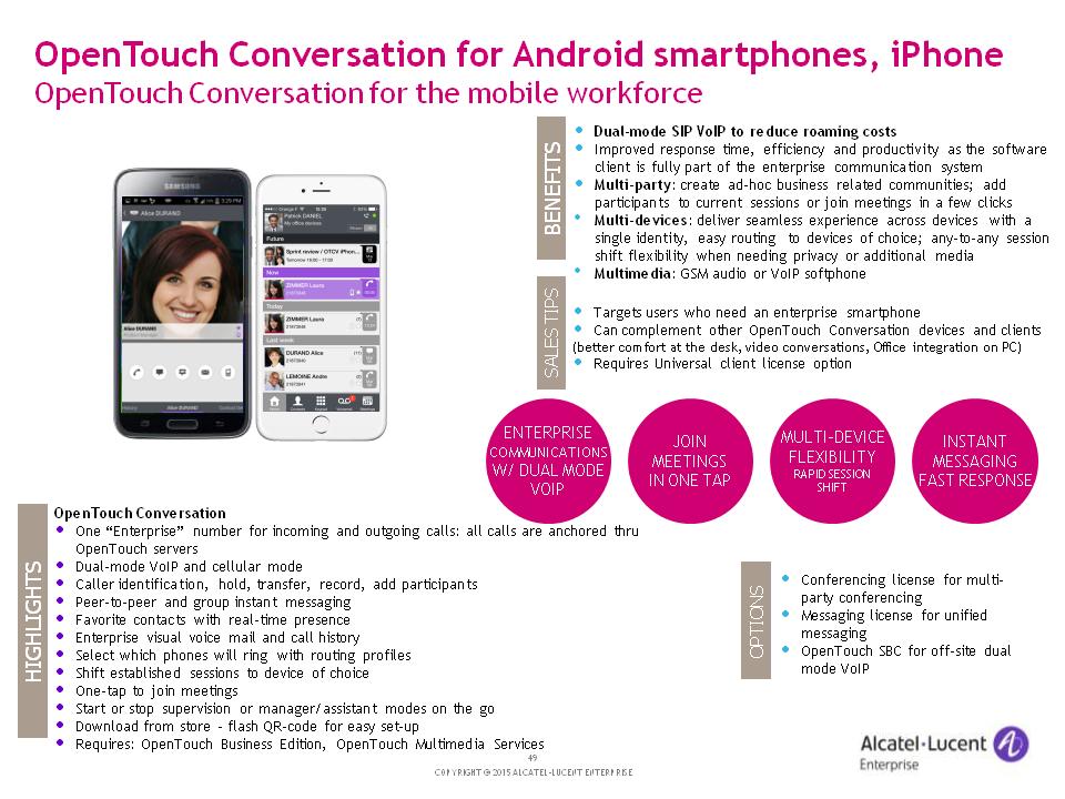 Alcatel-Lucent OT Conversation for SmartPhones