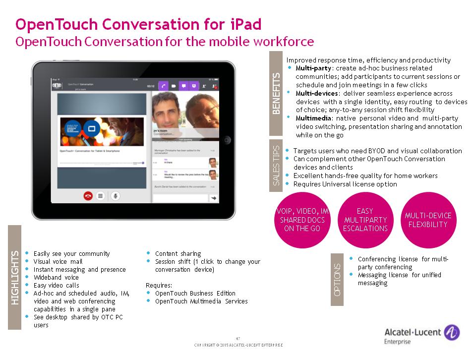 Alcatel-Lucent OT Conversation for iPAD